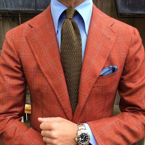 "violamilano:      @rickycarlo wearing a Viola Milano ""Olive"" knitted ZigZag tie & handrolled ""Grey Pattern"" pocket square…      Jacket: La Vera Sartoria Napoletana by @pinoluciano - Shirt: Fray - Watch: Rolex GMT II"