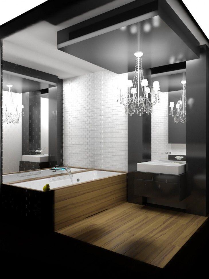 Projekt wnętrz mieszkania średniej wielkości w kolorach biało-czarnych, z dodatkiem betonu i drewna - Tissu