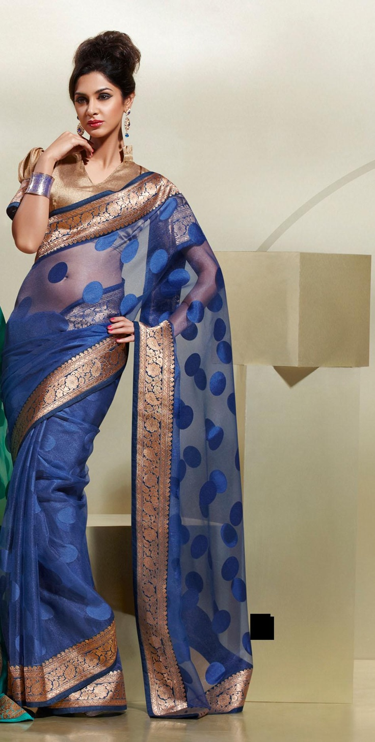 Blue Brasso Party Wear Saree With Unstitched Blouse