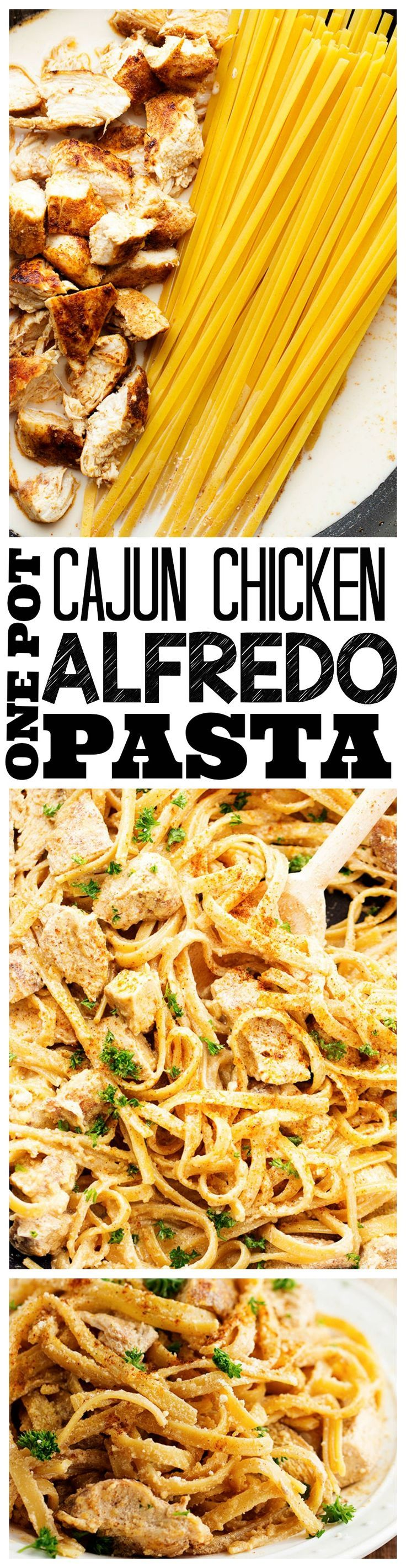 One Pot Cajun Chicken Alfredo Pasta
