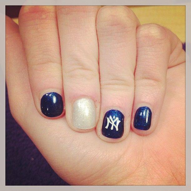 New York Yankee nail art (: Instagram post by jadamson013