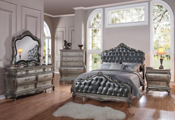 ACME Chantelle Eastern King Bed Antique Platinum & Silver Gray Silk-Like Fabric …