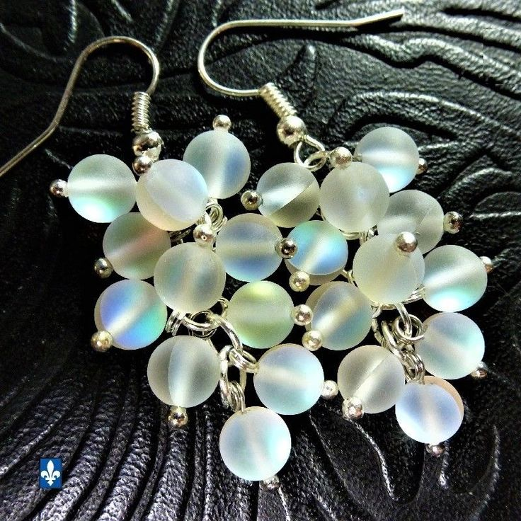 ✪ Catchy Multicolor Luminous Clear Frosted Czech Glass Plated Silver Earrings