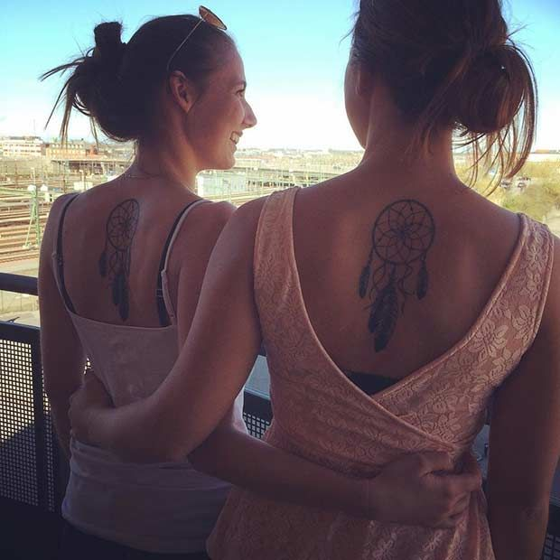 Matching Dream Catcher Tattoos for Sisters