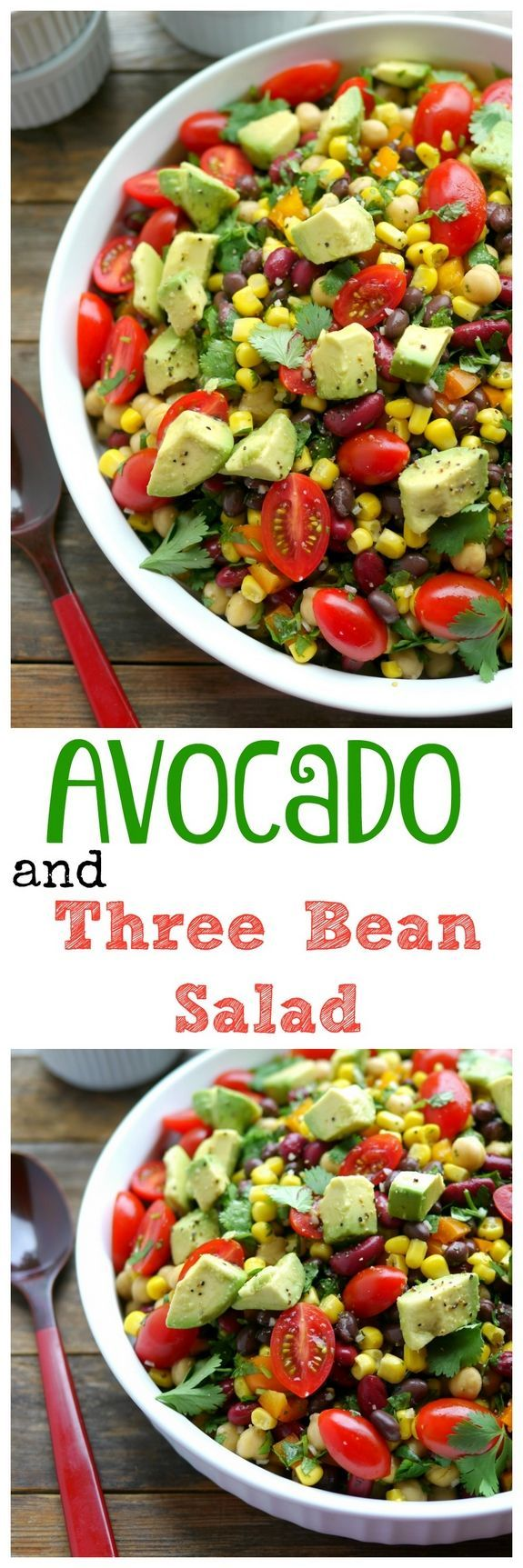 VIDEO + Recipe for Avocado and Three Bean Salad is the perfect side to so many meals. Light and refreshing you need to make this soon from NoblePig.com.