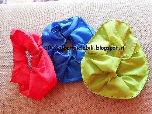 Elastici per capelli dal riciclo creativo di guanti di gomma e stoffe di ombrelli. www.1002ideericiclabili.blogspot.it