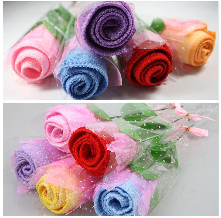 Christmas Gifts-Creative 4 Colors Rose Pure Cotton Towel In Box Size:5*6.5*24cm #QueenFeel