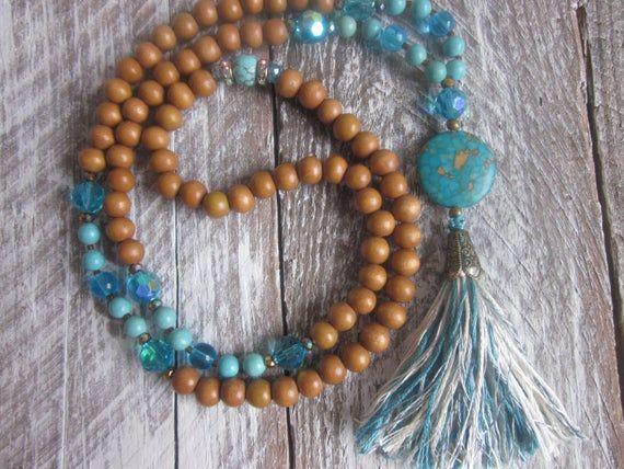 Boho Turquoise Golden Wood Beaded Necklace