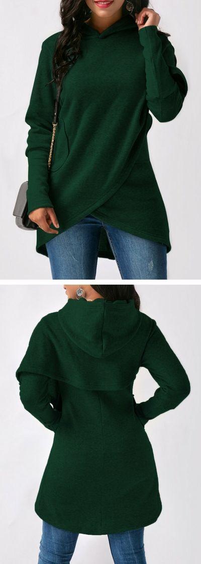 Dark Green Long Sleeve Asymmetric Hem Hoodie.