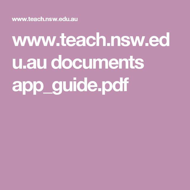 www.teach.nsw.edu.au documents app_guide.pdf