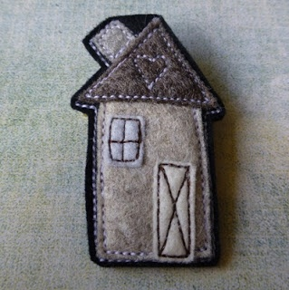 eclectic me blog: home sewn......three more little wool felt House brooches in 'the house series' by Gillian Hamilton