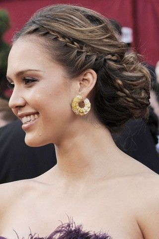 wedding hair: Hair Ideas, Wedding Hair, Red Carpets Hair, Style Inspiration, Hair Style, Jessica Alba, Side Braids, Grecian Goddesses, Bridesmaid Hairstyles