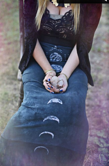 Moon Phases Skirt | Gypsy Dress | Bohemian Fashion | Boho Chic Long Skirt | Hippie Style | Gothic Look | Wiccan | Pagan | Goddess