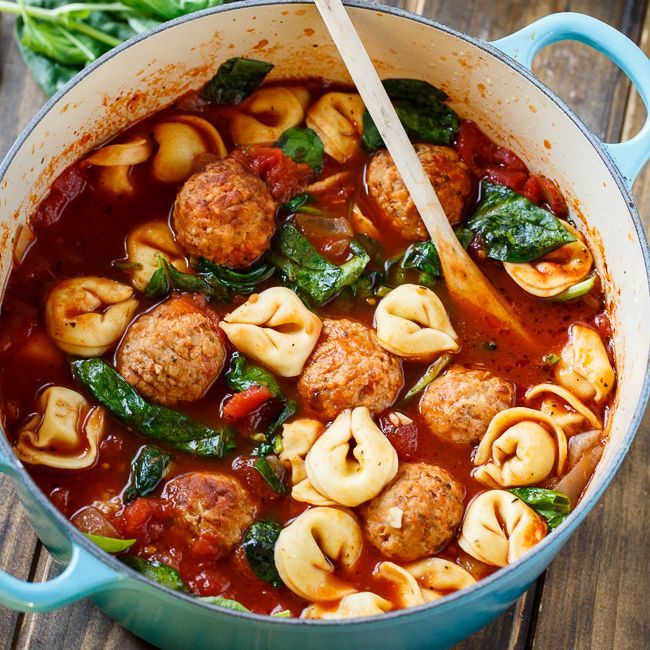 Meatball and Tortellini Soup is a hearty soup full of Johnsonville Italian-style meatballs and cheese tortellini plus some fresh spinach in a tomato broth. Using frozen,  pre-cooked meatballs is a great way to cut down on cooking time and get supper on the table in a hurry.   To make Meatball and Tortellini Soup …