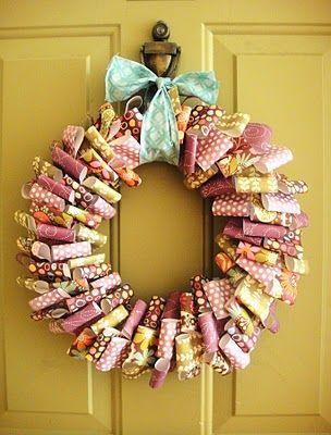 scrap paper wreath #wreath #paper