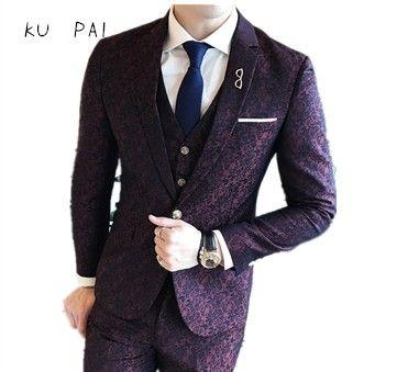 2017 Korean business casual groom Blazer British color yarn printing Blazer temperament Slim men's single Blazer