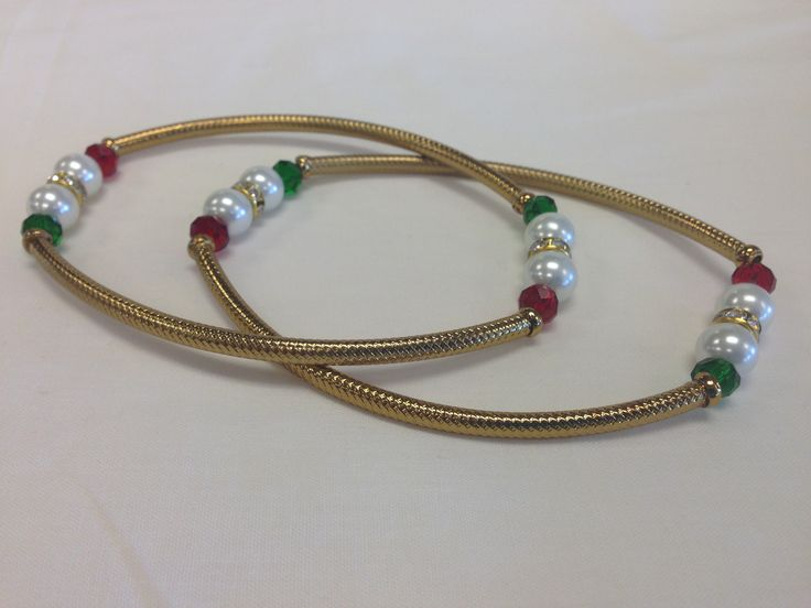 Unique Red & Green Beads Golden Payal