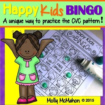 """#cvcwords  This bingo game offers a unique approach for practicing the cvc word pattern.  Each """"Happy Kid"""" has been given a name which aligns with the cvc pattern.  Students will love this game as they get to know the names of each child's face!  Once students have played the game several times, they can advance to the challenge level  which is also included."""