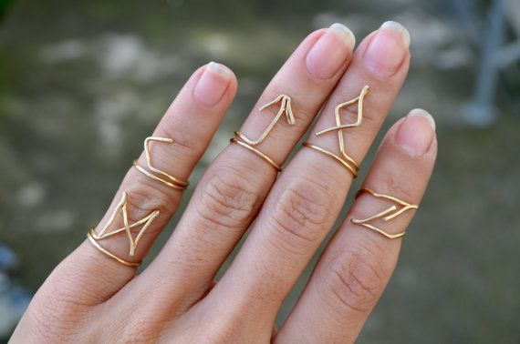 Gold Wire Rune Rings Set, Handmade Wire Jewelry, Boho Hippie Above Knuckle Ring