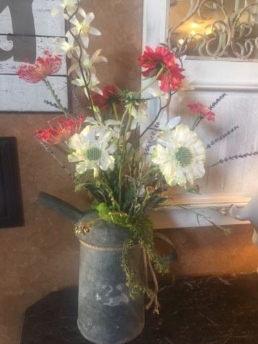 Old Vintage Farmhouse Watering Can, Handmade Spring Floral Arrangement