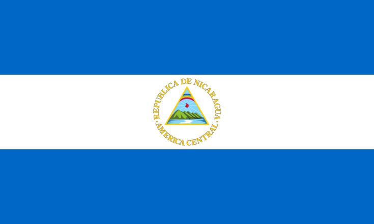 National flag of Nicaraguan from http://www.flagsinformation.com/nicaraguan-country-flag.html  Three equal horizontal bands of blue (top), white, and blue with the national coat of arms centered in the white band; the coat of arms features a triangle encircled by the words REPUBLICA DE NICARAGUA on the top and AMERICA CENTRAL on the bottom; similar to the flag of El Salvador, which features a round emblem encircled by the words REPUBLICA DE EL SALVADOR EN LA AMERICA CENTRAL.