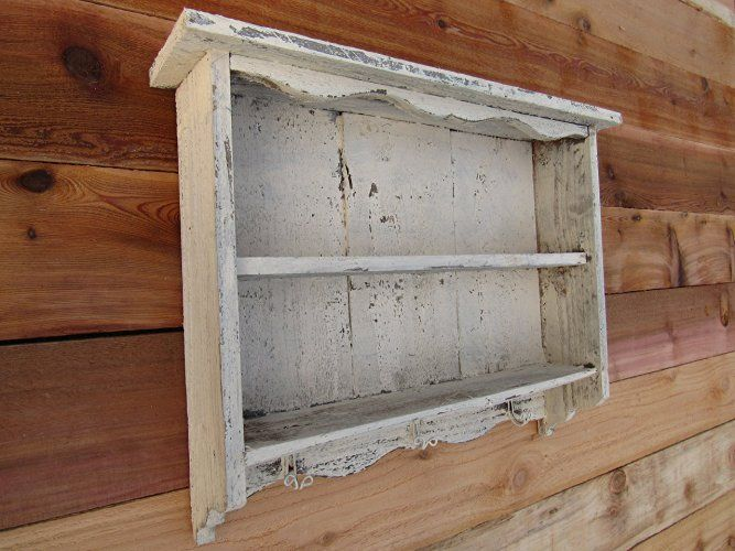 Tall Cream Off White Vintage Shabby Chic Distressed Handmade Wall Shelf Old