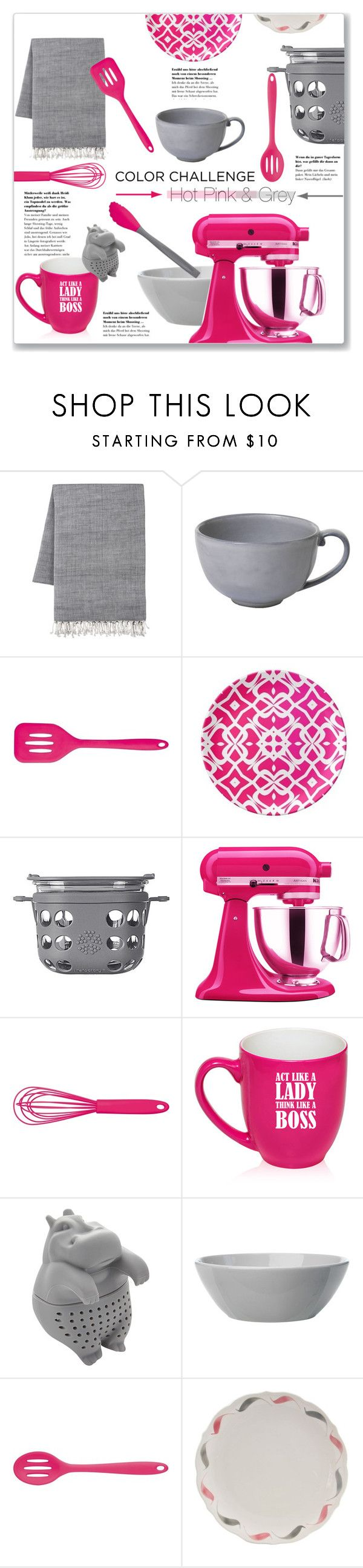"""Hot Pink & Grey Kitchen Accessories"" by kellylynne68 ❤ liked on Polyvore featuring interior, interiors, interior design, home, home decor, interior decorating, Juliska, Kitchen Craft Colourworks, Lifefactory and KitchenAid"