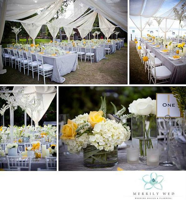 The 91 best merrily wed signature weddings images on pinterest open air tent swagging bright yellow pewter silver and white wedding white junglespirit Image collections