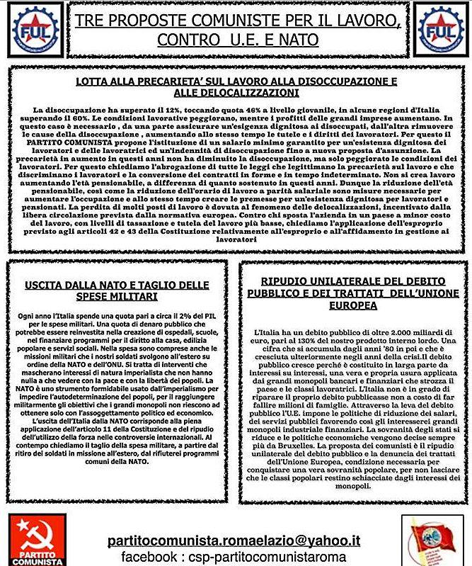 Antonio Lucignano: Tre proposte comuniste su Lavoro, Europa e Nato