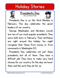 Second Grade Reading Comprehension Worksheet – Holiday Stories – Presidents Day