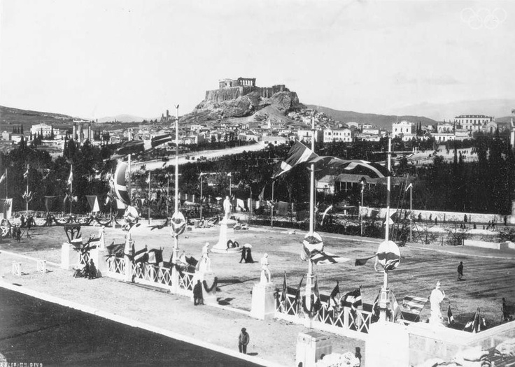 Athens 1896 - Entrance of the Panathenian stadium and in the middle George Averoff's statue.