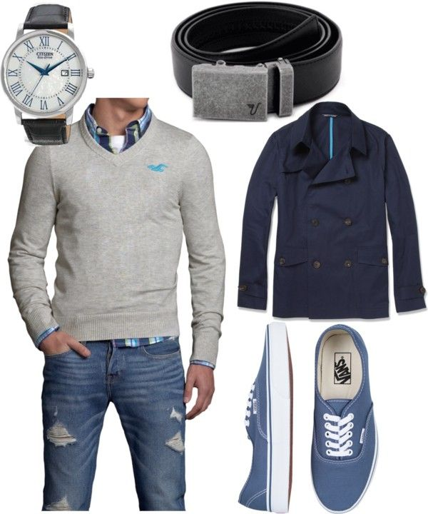 """""""Blue Classy Casual"""" maybe without the ripped jeans and giant logo on the sweater, and nicer shoes."""
