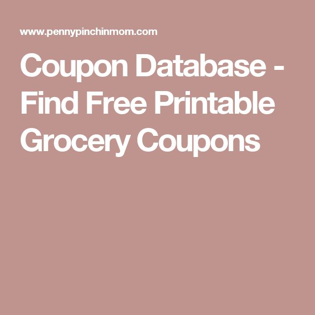 Coupon Database - Find Free Printable Grocery Coupons