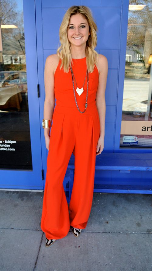 """Because this jumpsuit is solid and simple, add a printed shoe to give it a """"little extra excitement,"""" our friends at #KCMO's Clique Boutique suggest. Layering necklaces creates an accessorized look without appearing disheveled or overwhelming. (Trina Turk jumpsuit, $368; Loeffler Randall shoes, on sale for $282; One Oak necklaces, $158 and $98; One Oak cuff, $250.)"""