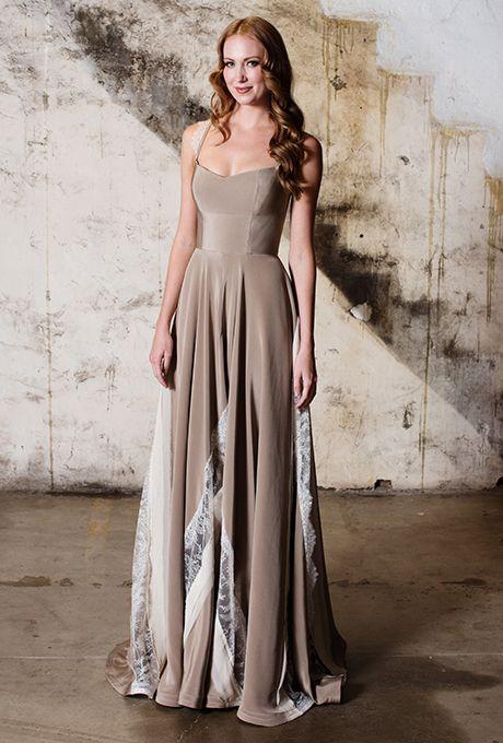"Brides.com: . ""Erbin"" sleeveless silk crepe mushroom sheath wedding dress with Chantilly lace peekaboo detail, Tara LaTour"