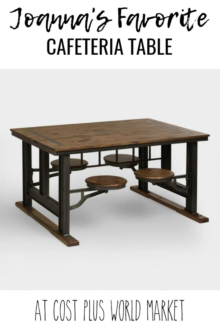 A table that definitely makes a statement! It is available at Cost Plus World Market! #fixer #upper #world #market #cafeteria #table #rustic #farmhouse #furniture #decor
