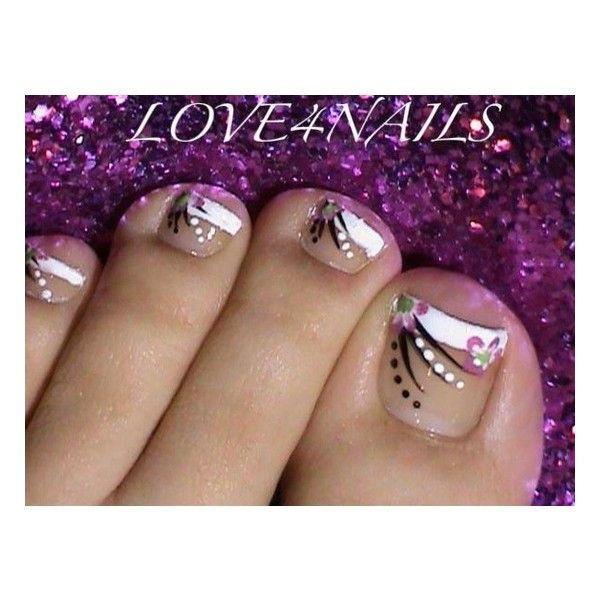 French Manicure Toe Nail Art Design Nail Art Gallery ❤ liked on Polyvore