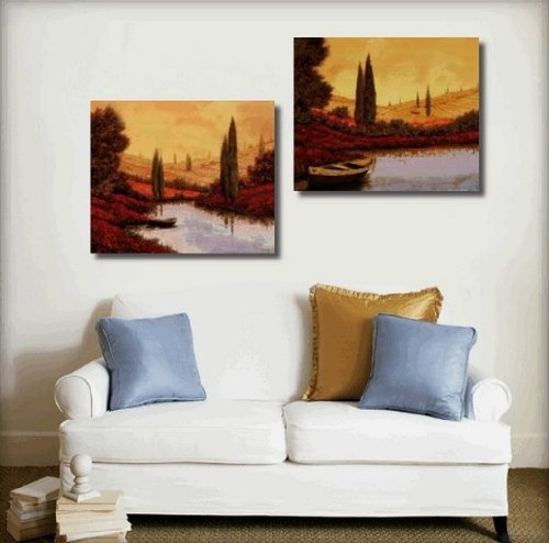 Italian Tuscany Red Poppy Field River Boat Modern Art 100% Hand Painted Oil Painting on Canvas Wall Art Deco Home Decoration (Unstretch No Frame) 2 Pics by galleryworldwide, http://www.amazon.com/dp/B0093JVVA2/ref=cm_sw_r_pi_dp_wvaUrb02ZYGS7