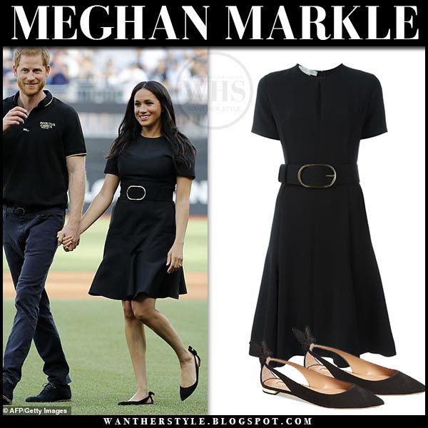 Meghan Markle In Black Belted Mini Dress And Black Flats At Major League Baseball Game In London Meghan Markle Outfits Meghan Markle Style Black Belt Outfit