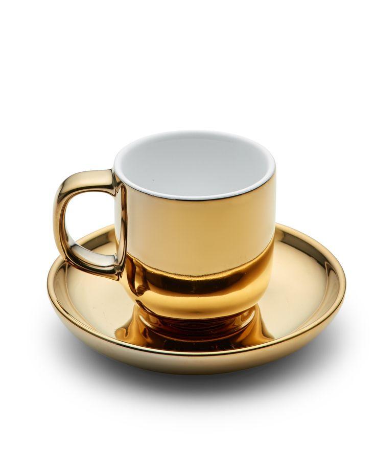 Salt & Pepper Metallic Espresso Cup and Saucer - Gold