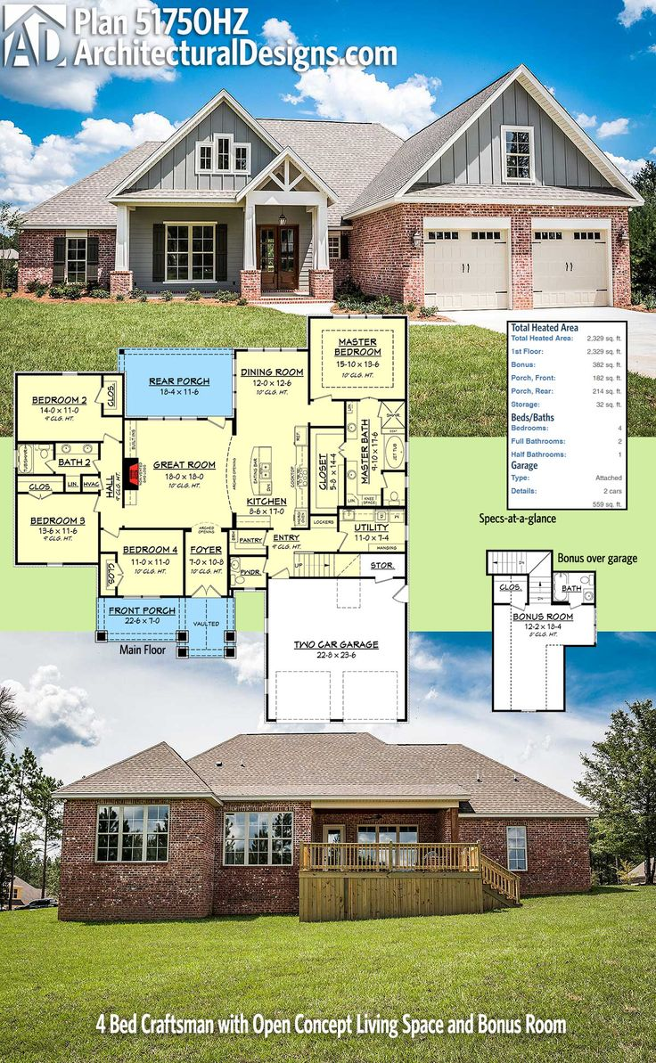 Plan 51750HZ 4 Bed Craftsman with Open