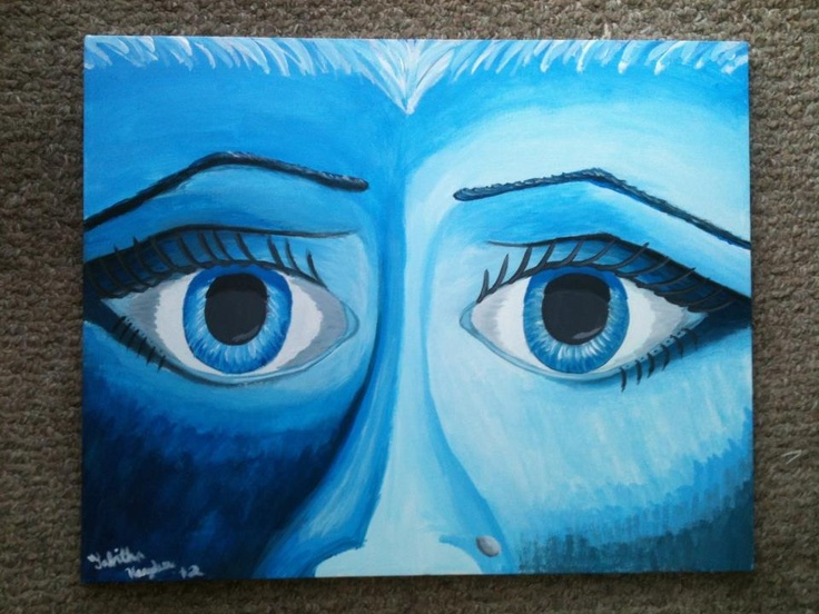 Blue Monocromatic Painting Of Eyes September 2 2012