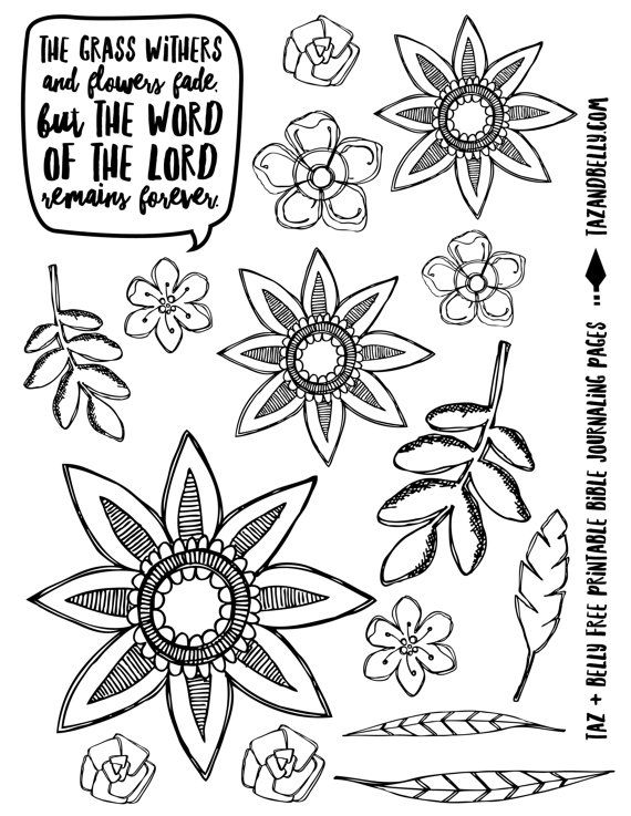 PRINTABLE Floral Bible Journaling Images Download By Tazandbelly