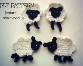 Crochet applique pattern, crochet sheep applique, Pattern No. 25