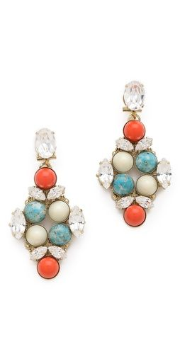 Crystal drop earrings. loving these colors together!