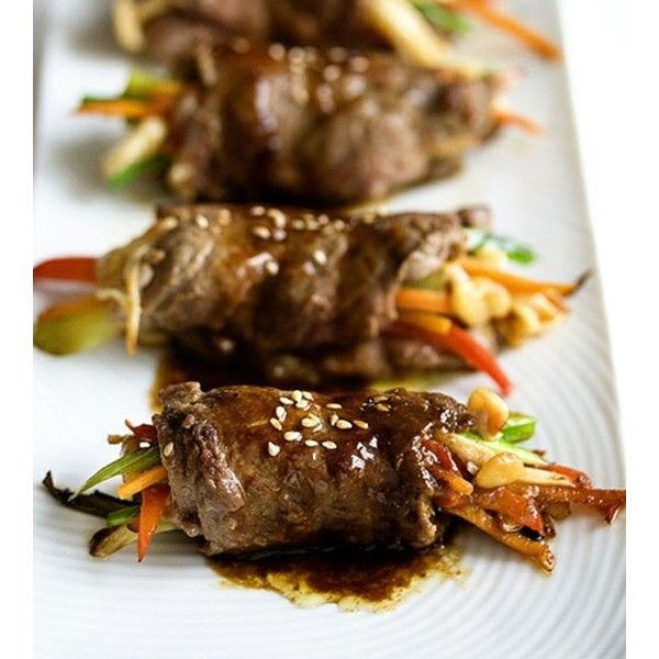 Pan Seared Steak Rolls ❤ liked on Polyvore featuring home, kitchen & dining, food, food & drinks and food and drink