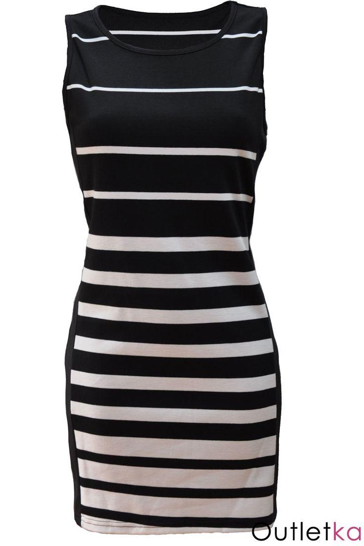 Nowa sukienka firmy Internacionale, w pasy czarno-białe. Sukienka elegancka, o ciekawym i oryginalnym wyglądzie. Dekolt zakryty. Materiał przyjemny w dotyku. Szybka wysyłka prosto z Polski!!!