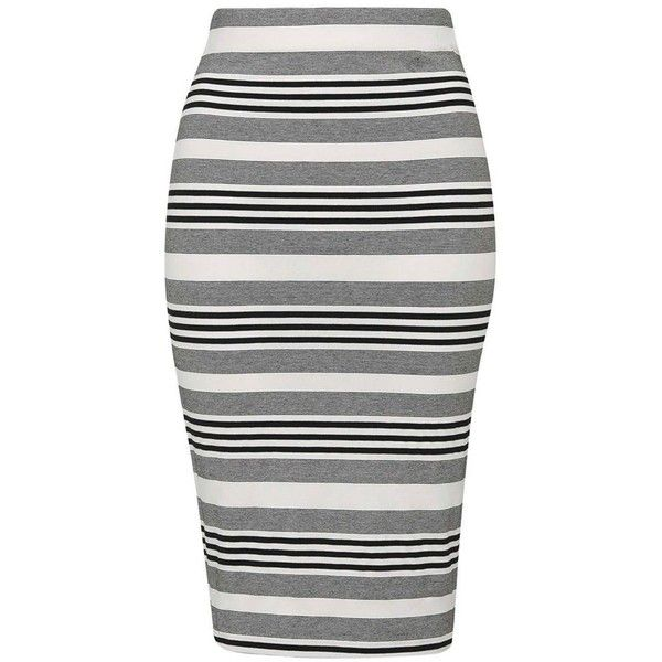 Petite Topshop Stripe Jersey Tube Skirt found on Polyvore featuring skirts, striped bodycon skirt, pull on skirt, tube skirt, knee high skirts and knee length bodycon skirt