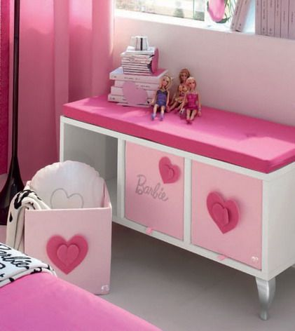 Beautiful Barbie Storage for Pink Bedroom Furniture Sets for Teenage Girls