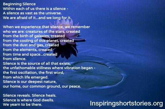 Inviting Silence By Gunilla Norris | Inspiring Short ...